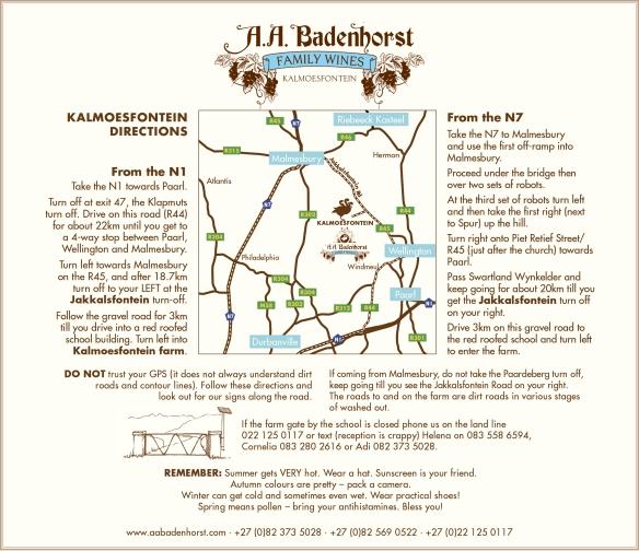 kalmoesfontein-directions