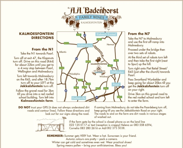 Directions to Kalmoesfontein